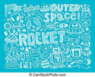 doodle, ruimte, element