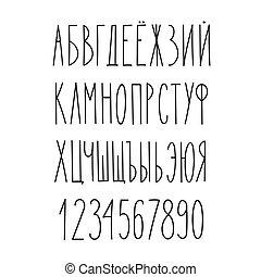 Doodle russian cyrillic narrow alphabet, vector simple hand ...