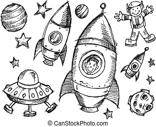 doodle, rys, komplet, zewnętrzna przestrzeń