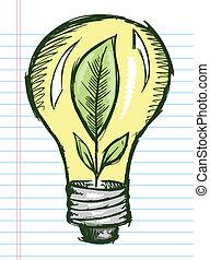 doodle, rys, lekka bulwa, z, roślina