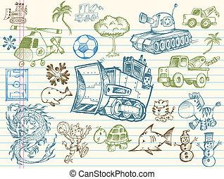 doodle, rys, wektor, komplet, elementy