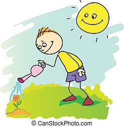 doodle, rysunek, od, ogrodnictwo, chłopiec