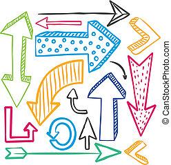 doodle, sæt, farverig, pil