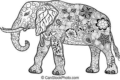doodle, słoń