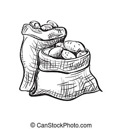 doodle sack of potatoes. Vector Illustration. Isolated in...