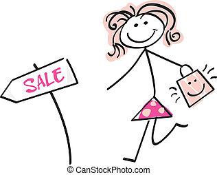 Doodle sale girl - Loving sale! Doodle vector character.
