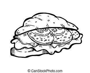 doodle, sandwich
