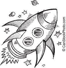 doodle, schets, buitenst, raket, ruimte