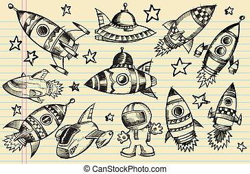 doodle, schets, communie, buitenste ruimte