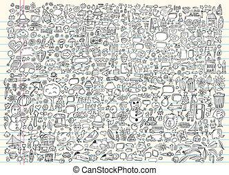 doodle, schets, communie, vector, set