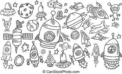 doodle, schets, set, buitenste ruimte