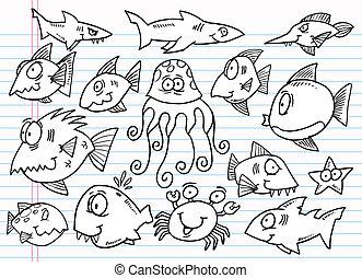doodle, schets, set, dier, oceaan