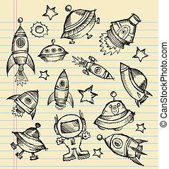 doodle, schets, vector, buitenste ruimte