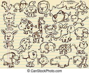 doodle, schets, vector, dieren, set