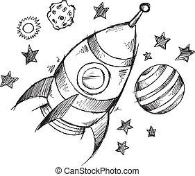 doodle, schets, vector, raket, ruimte
