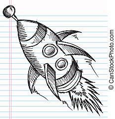doodle, schets, vector, raket