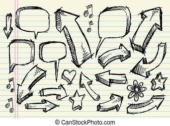 doodle, schets, vector, set, aantekenboekje