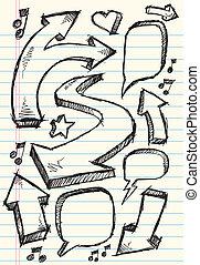 doodle, schets, vector, set