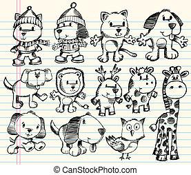 doodle, schets, vector, set, dier