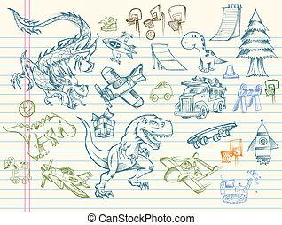 doodle, schets, vector, set, mega