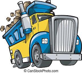 doodle, schets, vector, vrachtwagen, stortplaats