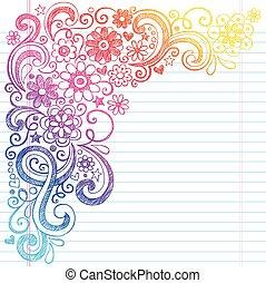 doodle, school, vector, bloemen, schets