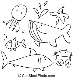 Doodle sea animals