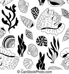 Doodle sea shells pattern