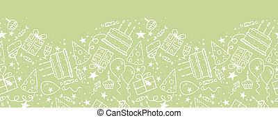 doodle, seamless, aniversário, padrão experiência, horizontais, borda