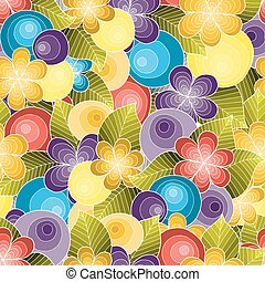 Doodle seamless background in vector with doodles, flowers and paisley. Colorful version.