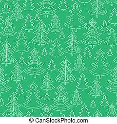 doodle, seamless, drzewa, tło modelują, boże narodzenie