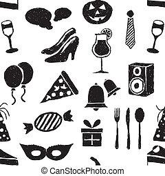 doodle, seamless, feestje, model