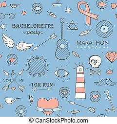 Doodle seamless hipster pattern over blue
