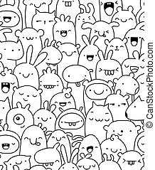 doodle, seamless, karakters