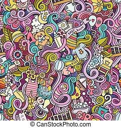 doodle, seamless, kinderen, vector, model, spotprent