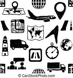 doodle, seamless, logistic, padrão