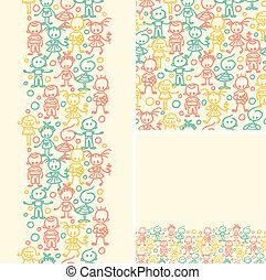 doodle, seamless, padrão experiência, crianças, feliz