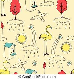 Doodle seamless pattern, vintage.