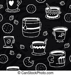 Doodle seamless pattern with cups