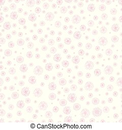 Doodle seamless pattern with flowers, isolated on white background - hand drawn