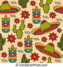 Doodle seamless pattern with mexico symbols