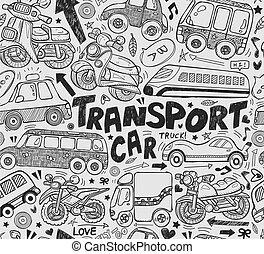 doodle, seamless, transporte, padrão