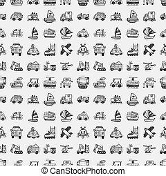 doodle, seamless, vervoeren, model