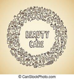 doodle, self-care, kosmetikker, iconerne