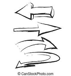 doodle set arrow, vector icon illu