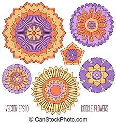 doodle, set., bloemen