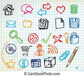 doodle, set, computer, kleurrijke, iconen