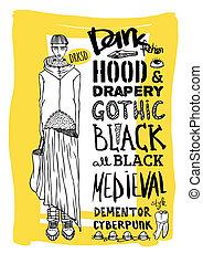 Doodle set, dark fashion, cyberpunk - Vector black, white...