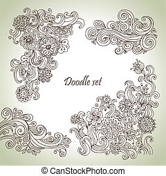 Doodle set. Hand drawn abstract floral illustrations