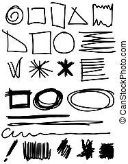 Doodle, Set hand drawn shapes